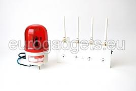 GSM signal detector with an alarm and flashing lights